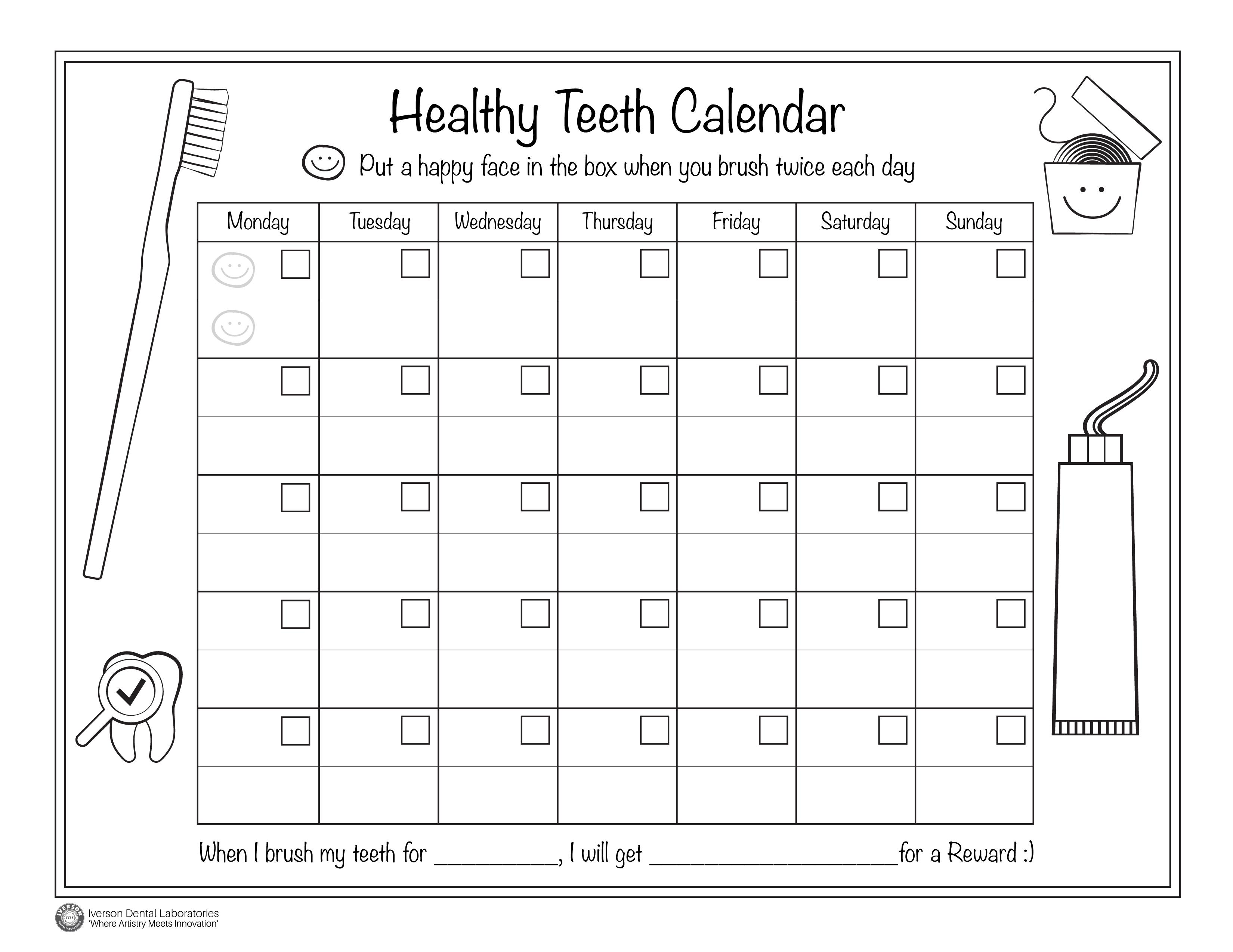 Kids Healthy Teeth Calendar